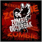 Poster Zombie Outbreak. Sign Board With Zombie poster
