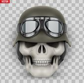 Human Skulls With German Army Helmet. Vector Illustration Isolated On Transparent Background poster