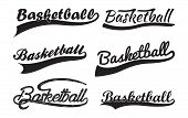 Set Of Inscriptiosn Basketballl With Swoosh, Sport Swooshes Set, Underline Swishes Tail Collection,  poster