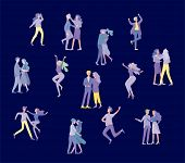 Collection Of Pairs Of Dancers. Men And Women Performing Dance At School, Studio. Male And Female Ch poster