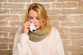 Girl In Scarf Hold Tissue Or Napkin Suffer Headache. Runny Nose Symptom Of Cold. Tips How Get Rid Of poster