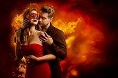Couple Hot Flaming Kiss, Man In Love Kissing Seductive Dreaming Woman In Fantasy Red Sexy Mask poster