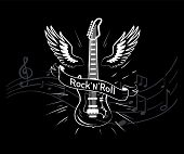 Rocknroll Music Style, Guitar With Wings Monochrome Sketch Outline Vector. Winged Musical Instrument poster