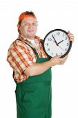 Cheerful Worker With A Big Clock In The Hands Of