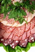 image of profusion  - The cut sausage on a white plate with a parsley - JPG