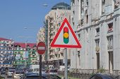 Speed Limit Sign On The Road.traffic Signs Concept. Warning Road Sign On A Street, Road Sign Informi poster