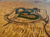 Aerial View Of Entire Love Lake Dubai At Al Qudra. A New Tourist Destination In The Vicinity Of Al Q poster