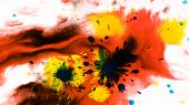 Ink Watercolor Paint Drops Onto A Wet Sheet, Psychedelic Abstract Spray On Paper poster