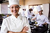 Female chef standing with arms crossed in kitchen at hotel poster