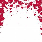 Red Heart Love Confettis. Valentines Day Falling Rain Worthy Background. Falling Stitched Paper Hear poster