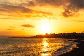Sunset. Mediterranean Sea Sunset At Costa Del Sol Beach. Estepona, Malaga, Andalusia, Spain. poster