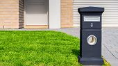 Brand New Australian House Freestanding Mailbox On Green Lawn At Front Yard poster