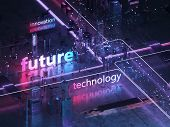 Futuristic City Of Glass And Metal. 3d Text Innovation, Technology And The Future. Retro Style Of Th poster