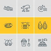 Illustration Of 9 Nautical Icons Line Style. Editable Set Of Mammal, Mussel, Binoculars And Other Ic poster