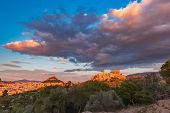 Aerial Panoramic View Of The Acropolis Hill With Parthenon And Mount Lycabettus At Gorgeous Sunset I poster