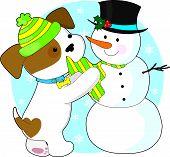 Muñeco de nieve y lindo cachorro