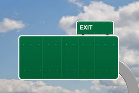 image of road sign  - Blank no text on a road sign exit - JPG