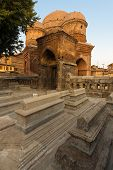 stock photo of empty tomb  - The graves at the rear of Budshah Tomb a tourist attraction in Srinagar Kashmir India - JPG