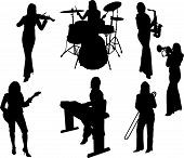 Group Of Music  Girls Silhouette