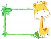 Cute baby giraffe vector frame