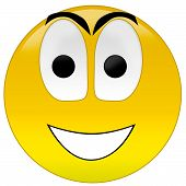 picture of smiley face  - 3d rendering yellow happy smiley on white - JPG