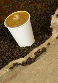 Cappuccino To Go sits in Coffee Beans and Burlap