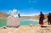 Stupa Alpine Lake Pilgrims Dhankar Spiti Valley