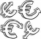 Euro currency value sketch