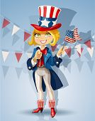Blond girl in a suit of Uncle Sam Celebrates July 4th