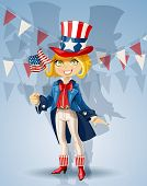 Girl in a suit of Uncle Sam and with flag Celebrates 4th July