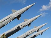 stock photo of cold-war  - Cold War era Russian missiles ready for launch - JPG