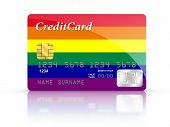 Credit Card Covered With Rainbow Flag.