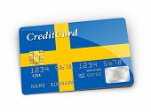 Credit Card Covered With Swedish Flag.