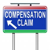 stock photo of workplace accident  - Illustration depicting a roadsign with a compensation claim concept - JPG