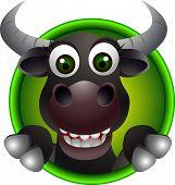 cute bull head cartoon