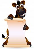 stock photo of buckskin  - vector illustration of cute horse cartoon with blank sign - JPG