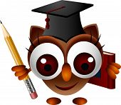 cute owl with pencil and book