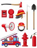 stock photo of ladder truck  - set icons of firefighting equipment vector illustration isolated on white background - JPG