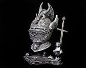 Statue of Medieval Helm and Miniature Excalibur Sword