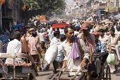 Crowded Indian Street Scene