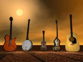 stock photo of ukulele  - Different Guitars - JPG