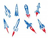 foto of meteor  - Set of rockets and missiles in cartoon style - JPG