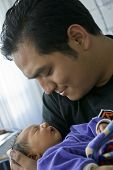 picture of newborn baby girl  - Newborn baby in the hospital with her father.