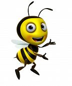 stock photo of bumble bee  - 3 d cartoon cute honey bee toy - JPG