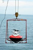 Jet Ski Lift For Dry Storage   On The Sea  Background