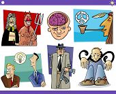 picture of peace-pipe  - Illustration Set of Humorous Cartoon Concepts or Ideas and Metaphors with Funny Characters - JPG
