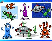 Aliens or Martians Cartoon Characters Set