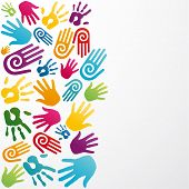 stock photo of messy  - Colourful silhouette hand group background - JPG