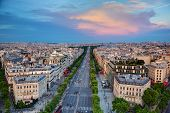 View on Avenue des Champs-Elysees from Arc de Triomphe at sunset, Paris, France