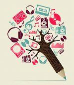 DJ Musik Konzept Bleistift Baum